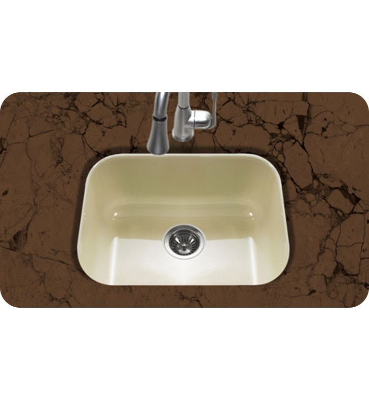 Houzer pcs 2500 bq undermount single bowl kitchen sink in biscuit finish from the porcela series - Bq kitchen sinks ...