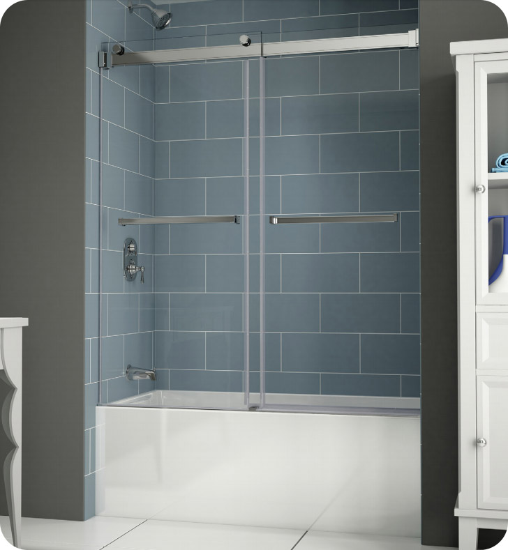 Fleurco npt60 gemini plus frameless bypass sliding tub doors - Shower glass protection ...