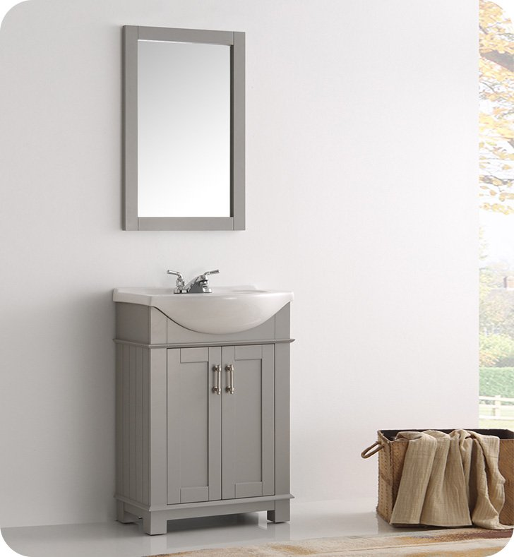 Fresca fvn2302gr cmb hartford 24 gray traditional for Decorplanet bathroom vanities