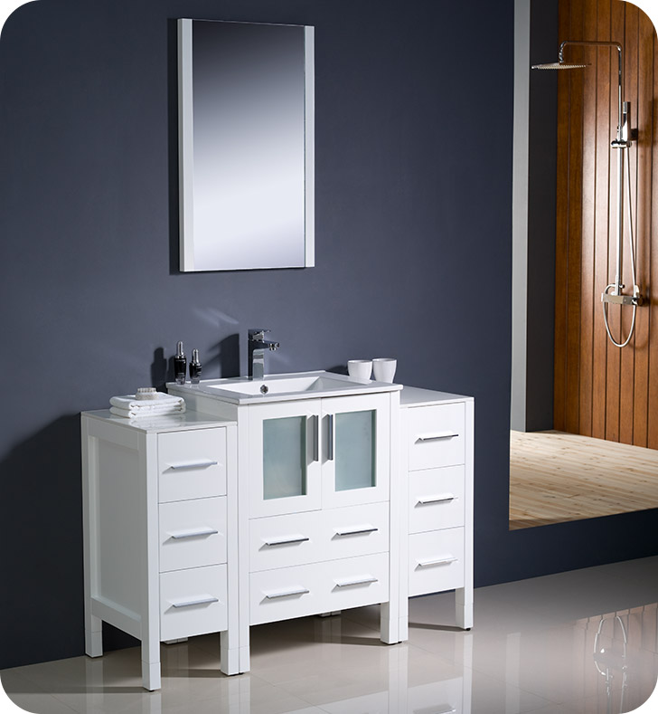 Fresca fvn62 122412wh uns torino 48 modern bathroom for Decorplanet bathroom vanities