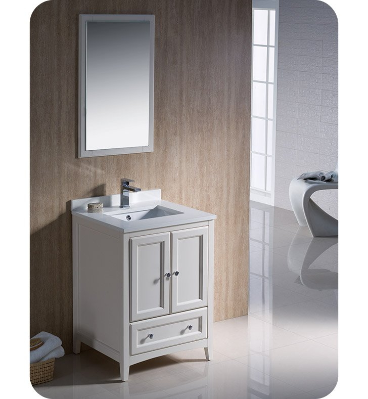 Fresca fvn2024aw oxford 24 traditional bathroom vanity in for Decorplanet bathroom vanities