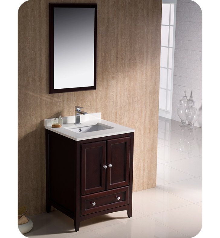 Fresca fvn2024mh oxford 24 traditional bathroom vanity in for Decorplanet bathroom vanities