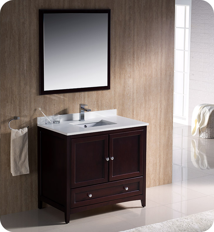 Fresca fvn2036mh oxford 36 traditional bathroom vanity in for Decorplanet bathroom vanities