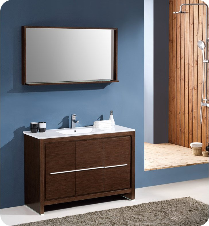 Fresca fvn8148wg allier 48 modern bathroom vanity with for Wenge bathroom mirror