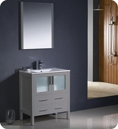 "Fresca FVN6230GR-UNS Torino 30"" Grey Modern Bathroom Vanity with Integrated Sink"