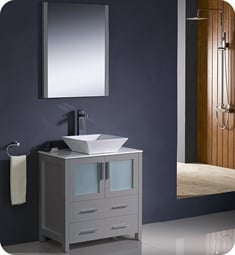 "Fresca FVN6230GR-VSL Torino 30"" Grey Modern Bathroom Vanity with Vessel Sink"