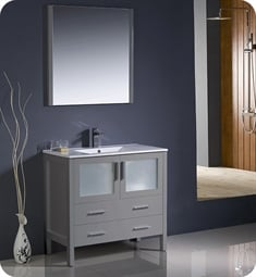 "Fresca FVN6236GR-UNS Torino 36"" Grey Modern Bathroom Vanity with Integrated Sink"