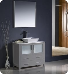 "Fresca FVN6236GR-VSL Torino 36"" Grey Brown Modern Bathroom Vanity with Vessel Sink"