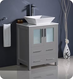 "Fresca FCB6224GR-CWH-V Torino 24"" Grey Modern Bathroom Cabinet with Top & Vessel Sink"