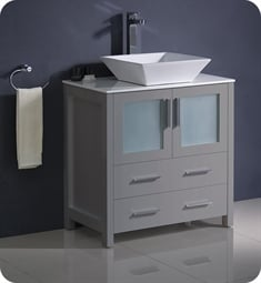 "Fresca FCB6230GR-CWH-V Torino 30"" Grey Modern Bathroom Cabinet with Top & Vessel Sink"