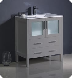 "Fresca FCB6230GR-I Torino 30"" Grey Modern Bathroom Cabinet with Integrated Sink"
