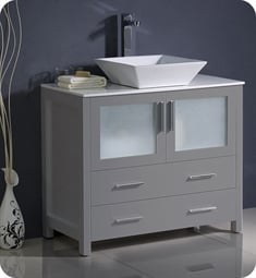"Fresca FCB6236GR-CWH-V Torino 36"" Grey Modern Bathroom Cabinet with Vessel Sink"