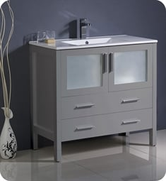 "Fresca FCB6236GR-I Torino 36"" Grey Modern Bathroom Cabinet with Integrated Sink"