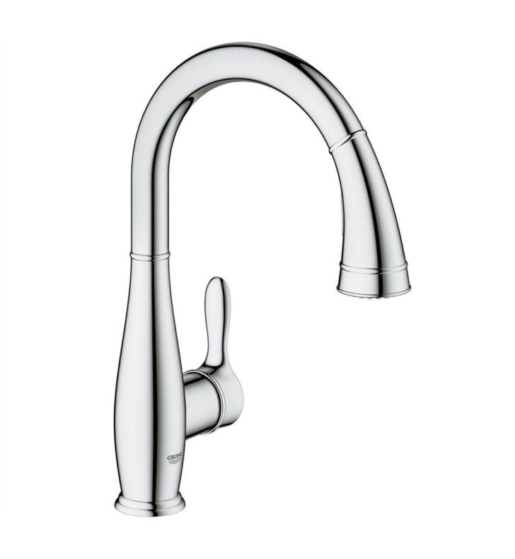 Grohe 30213001 Parkfield 14 3 4 Single Hole Deck Mounted Kitchen Faucet With Pull Out Dual