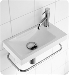"Decotec 114526 Sucre 16"" Wall Mount Rectangular Handwash Bathroom Sink without Soap Dish"