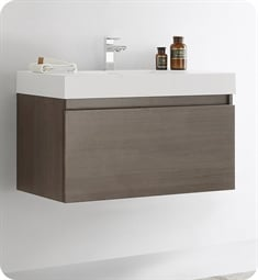 "Fresca FCB8008GO-I Mezzo 36"" Gray Oak Modern Bathroom Vanity with Integrated Sink"