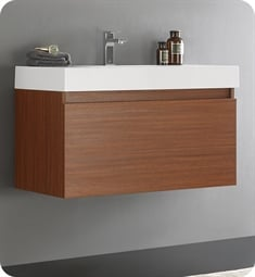 "Fresca FCB8008TK-I Mezzo 36"" Teak Modern Bathroom Vanity with Integrated Sink"