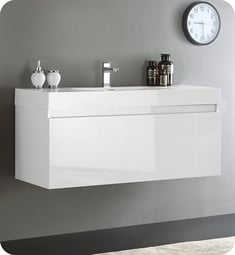"Fresca FCB8011WH-I Mezzo 48"" Glossy White Modern Bathroom Vanity with Integrated Sink"