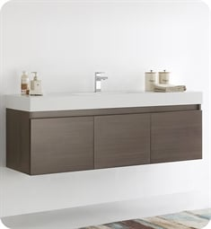 "Fresca FCB8041GO-I Mezzo 60"" Gray Oak Modern Bathroom Vanity with Integrated Sink"