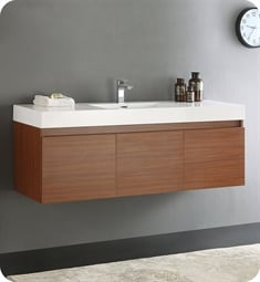 "Fresca FCB8041TK-I Mezzo 60"" Teak Modern Bathroom Vanity with Integrated Sink"
