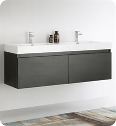 "Fresca FCB8042BW-I Mezzo 59"" Black Modern Bathroom Vanity with Integrated Double Sink"