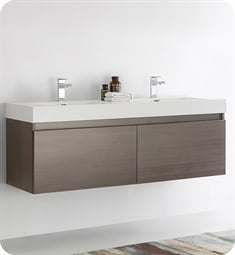 "Fresca FCB8042GO-I Mezzo 59"" Gray Oak Modern Bathroom Vanity with Integrated Double Sink"