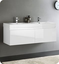 "Fresca FCB8042WH-I Mezzo 59"" White Modern Bathroom Vanity with Integrated Double Sink"
