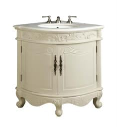 "Chans Furniture BC-030C Benton Bayview 24"" Freestanding Classic Style Corner Single Bathroom Vanity in Antique White"