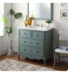 "Chans Furniture HF081Y Benton Daleville 34"" Freestanding Vintage Style Single Bathroom Vanity in Vintage Blue"