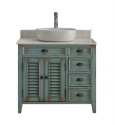 "Chans Furniture CF-78886BU Benton Abbeville 36"" Freestanding Single Bowl Vessel Sink Bathroom Vanity in Distressed Teal Blue"