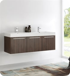 "Fresca FCB8093GW-D-I Vista 60"" Walnut Modern Bathroom Vanity with Integrated Double Sink"