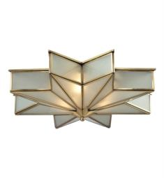 "Elk Lighting 22011-3 Decostar 3 Light 21"" Incandescent Clear Crystal Flush Mount Ceiling Light in Brushed Brass"