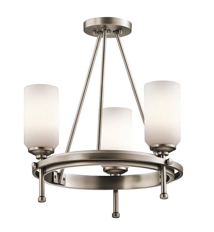 Kichler 42944AP Ladero Collection Semi Flush/Chandelier 3 Light in Antique Pewter