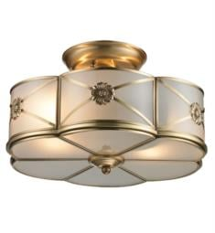 "Elk Lighting 22002-2 Preston 2 Light 14"" Incandescent Semi-Flushmount Ceiling Light in Brushed Brass"