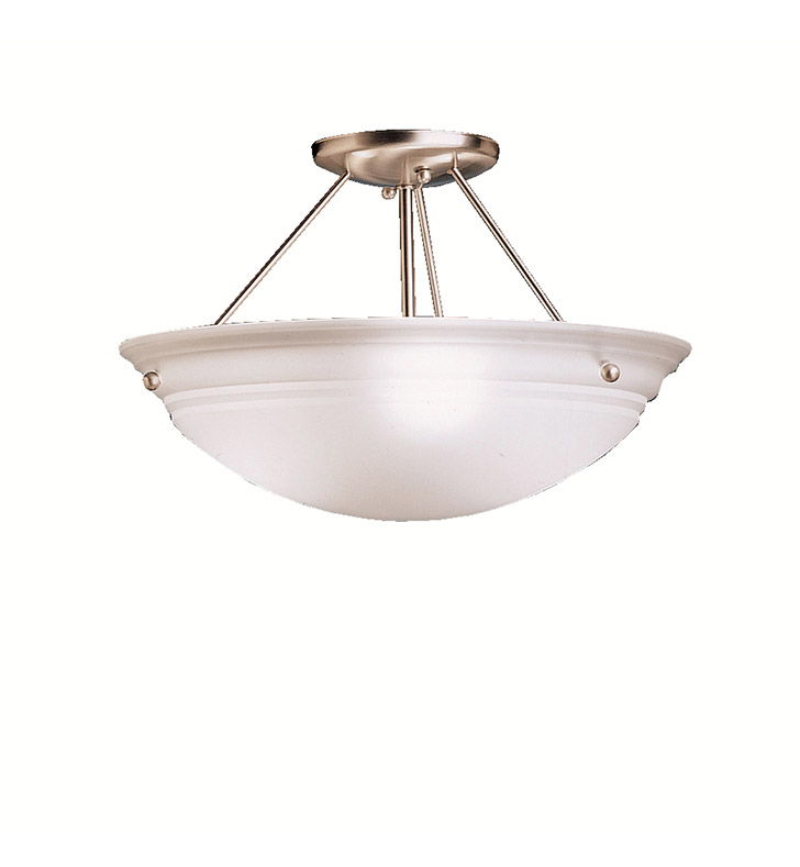 Kichler 3122NI Cove Molding Top Glass Collection Semi Flush 3 Light in Brushed Nickel
