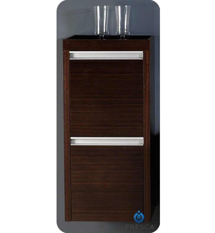 Fresca FST3030WG Wenge Brown Bathroom Linen Side Cabinet with 2 Doors