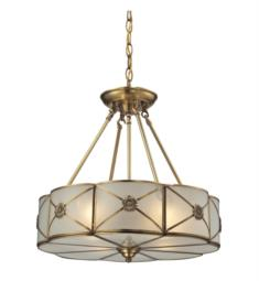 "Elk Lighting 22004-4 Preston 4 Light 18"" Incandescent Cream Glass Shade Pendant in Brushed Brass"