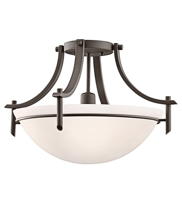 Kichler 3678OZW Olympia Collection Semi Flush 1 Light in Olde Bronze