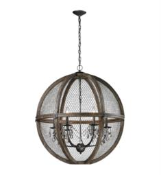 "Dimond Home 140-008 Renaissance Invention 6 Lights 30"" Incandescent Wood and Wire Chandelier in Aged Wood with Bronze"