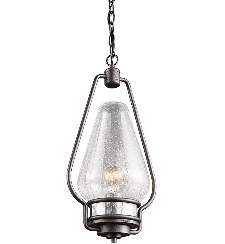 Kichler 49094AVI Outdoor Pendant 1 Light in Anvil Iron