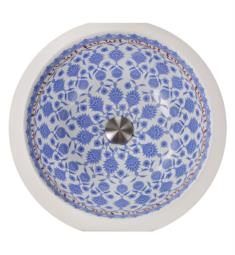 "Nantucket RC78140M Regatta Santorini 16"" Single Bowl Undermount Fireclay Round Bathroom Sink in White/Blue"