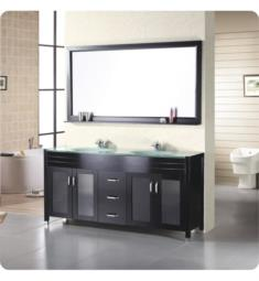 "Design Element DEC016B Waterfall 71"" Freestanding Double Sink Bathroom Vanity Set in Espresso"