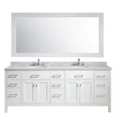 "Design Element DEC076-84-W London Stanmark 84"" Freestanding Double Sink Bathroom Vanity Set in White"
