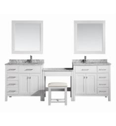 "Design Element DEC076D-W_DEC076D-L-W_MUT-W London Stanmark 102"" Freestanding Two Single Sink Bathroom Vanity Set in White with Make-Up Table"