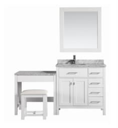 "Design Element DEC076D-W_MUT-W London Stanmark 66"" Freestanding Single Sink Bathroom Vanity Set in White with Make-Up Table"