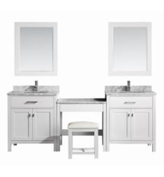 "Design Element DEC076E-WX2_MUT-W London Stanmark 90"" Freestanding Two Single Sink Bathroom Vanity Set in White with Make-Up Table"