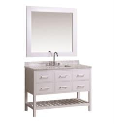 "Design Element DEC077D-W London Cambridge 48"" Freestanding Single Sink Bathroom Vanity Set in White"