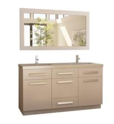 "Design Element J60-DS-W Moscony 60"" Freestanding Double Sink Bathroom Vanity Set in White"