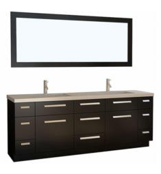 "Design Element J84-DS Moscony 84"" Freestanding Double Sink Bathroom Vanity Set in Espresso"