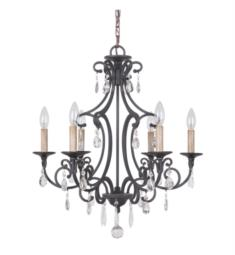 "Craftmade 38926-MBK Bentley 6 Light 22"" Incandescent One Tier Chandelier in Matte Black"